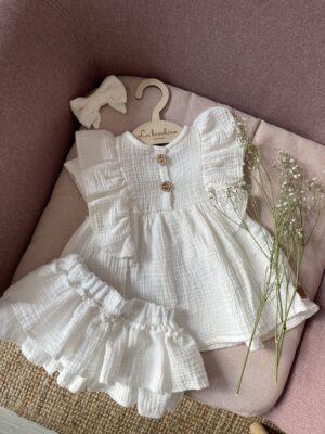 Zestaw sukienka MUŚLIN śmietanka z bloomersami