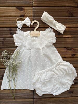 Zestaw sukienka BAWEŁNA HAFTOWANA śmietanka z bloomersami- DOSTĘPNY OD RĘKI, wysyła 2/3 dni