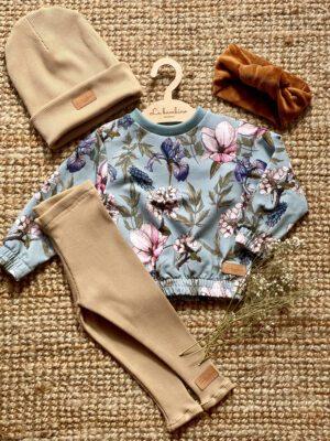 Zestaw z bluzą IRYS i legginsami z dzianiny prążkowanej CAFFE LATTE