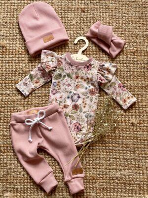 Zestaw body FLOWER ze spodniami dzianina prążkowana BRUDNY RÓŻ