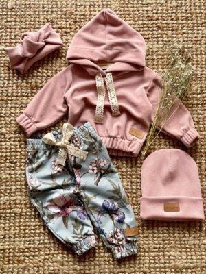 Zestaw z bluzą welur BRUDNY RÓŻ i spodniami IRYS